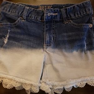 Girls Justice jean shorts size 12 slim lace detail